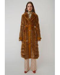 Acne Studios - Faux Fur Coat saffron Orange - Lyst