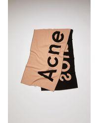 Acne Studios - Fn-ux-scar000045 Pink/black Logo-jacquard Scarf - Lyst