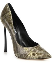 Casadei Blade Python-Embossed Leather Pumps - Lyst