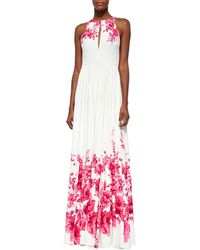 Lela Rose Floral-Print Slit Keyhole Gown - Lyst