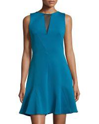 Versace Sleeveless Mesh Back Flounce Hem Dress blue - Lyst