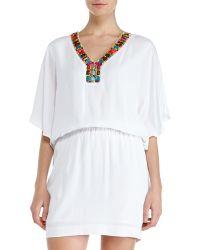 Nicole Miller White Beaded Embellished Blouson Dress - Lyst