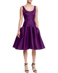 Zac Posen | Scoop-neck Structured Cocktail Dress | Lyst