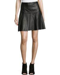 Halston Heritage Flared Naked Leather Skirt - Lyst