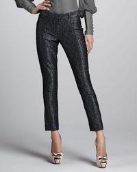 Zac Posen Metallic Brocade Skinny Pants - Lyst
