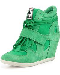 Ash Bowie Suede Wedge Sneaker - Lyst