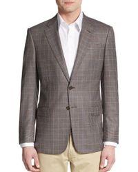 Armani Regular-Fit Glen Plaid Virgin Wool Sportcoat - Lyst