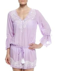 Letarte - Femme Embroidered-trim Drawstring Tunic - Lyst