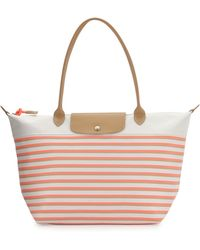 Longchamp Mariniere Large Striped Tote Bag pink - Lyst