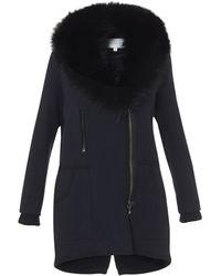 Veronica Beard Navy Parka W/ Fur Collar - Blue