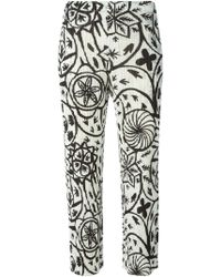 Pleats Please Issey Miyake Printed Pleated Cropped Trousers - Lyst