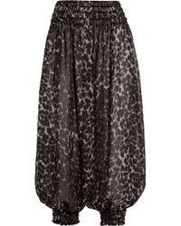 Norma Kamali - Cropped Cheetah-print Crepe-chiffon Trousers - Lyst