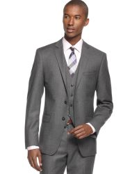 Calvin Klein X Grey Flannel Solid Vested Slim-Fit Suit - Lyst