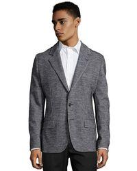 Dolce & Gabbana Grey Houndstooth Wool-Cotton 2-Button Blazer - Lyst