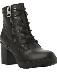 Steve Madden Noodless Lace-Up Leather Ankle Boots - Lyst