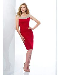 Mon Cheri Beaded Bateau Fitted Dress - Red