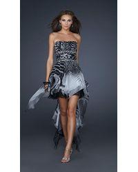 La Femme Strapless Print High Low Dress - Black