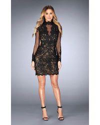 La Femme 25121 Illusion High Neck Cocktail Dress - Black