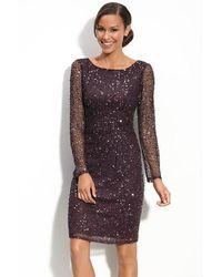 Patra Long Sheer Sleeves Glittered Sheath Dress - Multicolour