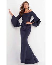 Jovani 59993sc Bell Sleeve Off-shoulder Mermaid Gown - Blue
