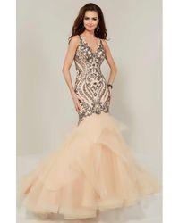 Tiffany Designs 16351 Beaded V-neck Layered Mermaid Dress - Multicolour