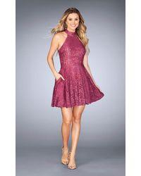 La Femme 25099 Halter Neck Lace A-line Dress - Pink