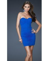 La Femme 18110 Fitted Strapless Ruched Cocktail Dress - Blue