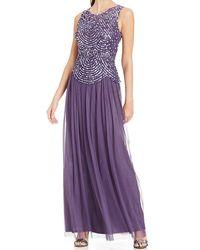 Patra Long Scallop Motif A-line Dress - Purple