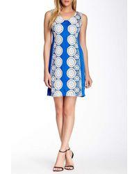 Muse Contrast Lace Ornate Sheath Dress C - Blue
