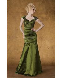 THEIA Queen Anne Ruched Mermaid Dress - Green