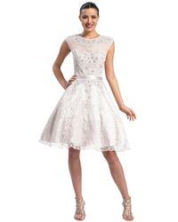 Sue Wong Cap Sleeved Jewel Neck A-line Dress N5212 - Pink