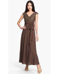Patra V Neck Embellished Tied Long Dress - Brown