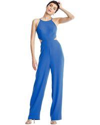 Aidan Mattox Mn1e204053 Sleeveless Halter Jumpsuit With Back Ties - Blue