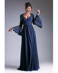 Cinderella Divine Embellished Lace Long Bell Sleeve A-line Dress - Blue