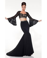 Panoply 14844 Two-piece Sultry Bell Sleeved Lace Trumpet Gown - Black