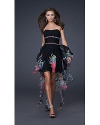 La Femme 16289 High Low Dress With Ruched Bodice - Black