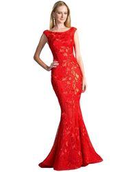 Cinderella Divine Cap Sleeve Bateau Neck Lace Mermaid Evening Gown - Red