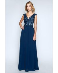 Nina Canacci 1449 Embellished Lace Bodice A Line Gown - Blue