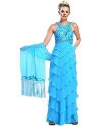 Sue Wong Embroidered High Neck Chiffon Sheath Dress W5133 - Blue