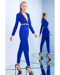 Ieena Duggal Long Sleeve Tailored Plunge Jumpsuit Sc - Blue