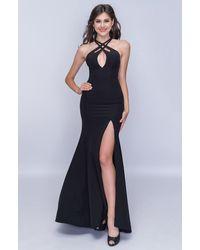 Nina Canacci Halter Cutout Front High Slit Dress - Black