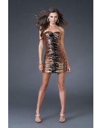 La Femme Sequin Embellished Fitted Cocktail Dress - Black
