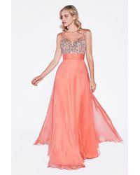 Cinderella Divine Sleeveless Bedazzled Plunging V-neck A-line Dress - Pink