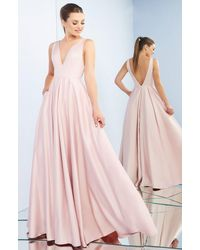 Ieena Duggal Sleeveless Plunging V Back A-line Prom Gown C - Pink