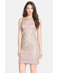 Adrianna Papell 41889120 Sleeveless Illusion Lace Cocktail Dress - Pink