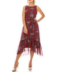Sandra Darren Tea Length Floral Print Ruffled Hem Dress - Red