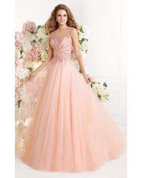 Tarik Ediz Illusion Embellished Bodice Tulle A-line Dress - Pink