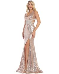 May Queen - Rq7648 Cutout Ornate Sequined High Slit Gown - Lyst