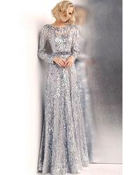 Jovani Embellished Bateau Long Sleeves Gown Jvn62711sc - Metallic