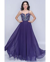 Nina Canacci Beaded Plunging Sweetheart A-line Chiffon Gown - Blue
